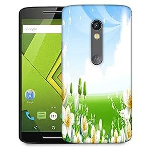 Snoogg White Flower Garden Designer Protective Phone Back Case Cover For Lenovo Motorola Moto G4