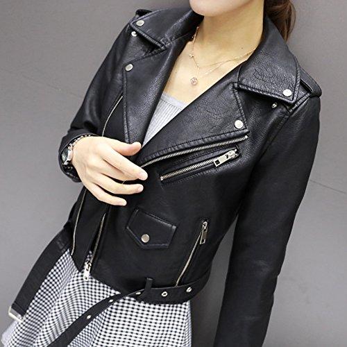 semen Damen Lederjacke Freizeit Übergangsjacke Biker Zip Motorradjacke Winddicht Warm Chopperjacke PU Jacke Herbst Slim Fit Modern - 3