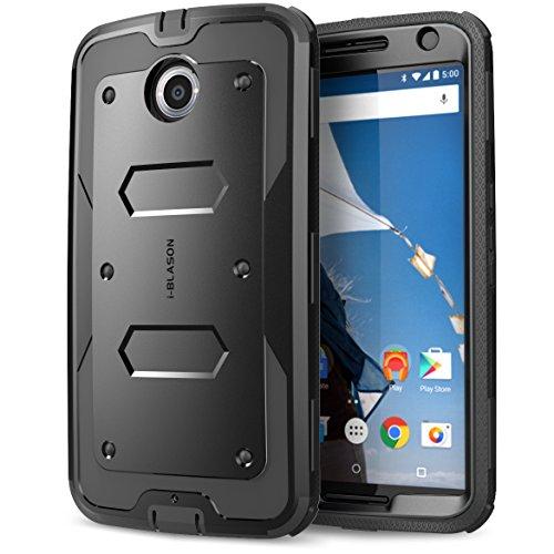Nexus 6 Hülle, **Ultradünn**, i-Blason® Google Nexus 6 Phone Schutzhülle Armorbox Dual Layer Hybrid Full-body Protective Case mit integriertem Displayschutz / Schockresistente Hülle, Case für Motorola Nexus 6 Phone (Schwarz)