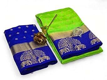 Shayam Krishna Textile Cotton Silk Saree with Blouse Piece Free Size(White, PD151SR2590_1)