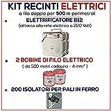 KIT PER RECINTO ELETTRICO DI 500 MT - ELETTRIFICATORE E/220 + FILO + ISOLATORI