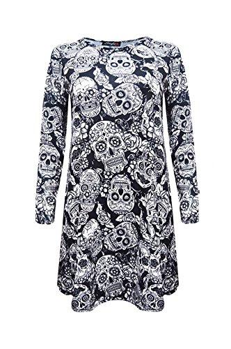 lulr-stampa-floreale-da-donna-swing-vestito-uk-8-26-big-skull-s-m