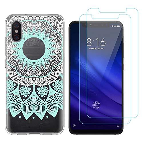 Reshias Funda Xiaomi Mi 8 Pro, Cárcasa Silicona Transparente Gel TPU Protector Bumper Case Cover para Teléfono Móvil Xiaomi Mi 8 Pro (Mandala) con (2 Pack) Cristal Templado