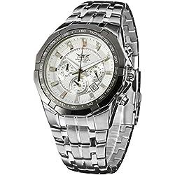 LEORX Premium Men Calender Quartz Wrist Watch with Stainless Steel Band - 1 Pieces