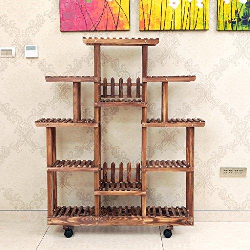 Étagère en bois massif Salon Étagère étagère à étages Étagère à fleurs Étagère étagère à étagères à étagères intérieures 113cm * 25cm * 125cm ( Couleur : Pulley )