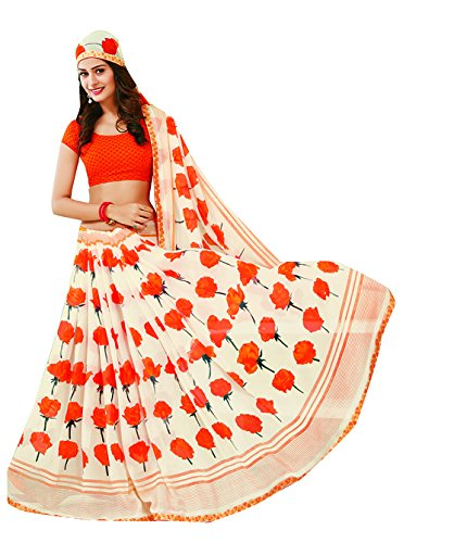 Subhash Sarees White and Orange Color Georgette Printed (Floral Print) Saree  available at amazon for Rs.1166