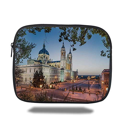 Tablet Bag for Ipad air 2/3/4/mini 9.7 inch,Cityscape,Old Cathedral and Royal Palace in Madrid Mediterrenean Mod City Europe Urban Print,Multi -
