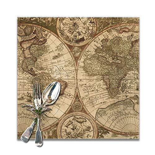 Dimension Art Old World Map Globe Placemats Set of 6/4 for Dining Table Washable Polyester Placemat Non-Slip Wear and Heat Resistant Kitchen Table Mats Easy to Clean, 12x12 In (Old Globe World)