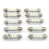 10 X 12V 6 SMD LED 39mm Blanco Dome Bombilla Interior del Coche