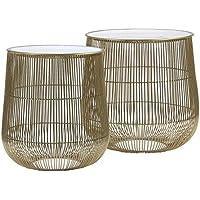 Preisvergleich für Light & Living 6734988 SUNO Beistelltische Weiss-Bronze 2tlg. (2 Stück)