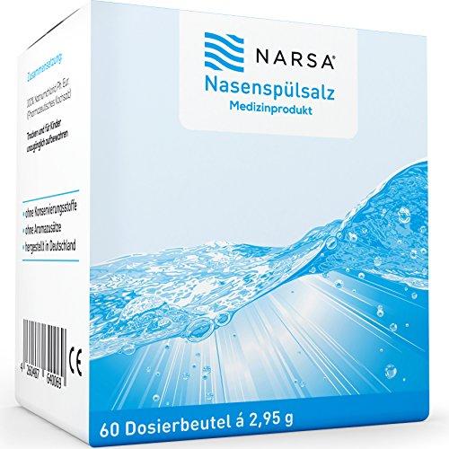 Narsa® naso spuel sale 60stk per la pulizia del naso bei raffreddore/allergie/secca naso/naso/doccia naso pulizia/detergente per naso/naso sale/sale/naso spuelung bei raffreddore