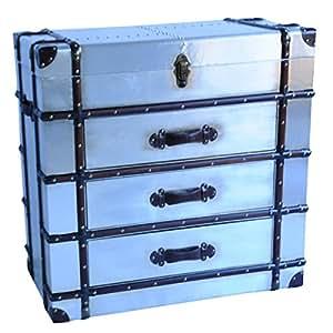 Coffre de rangement Style Vintage Grande commode 3 tiroirs Finition métal argenté avec poignée en cuir et détails En bois