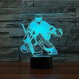Veilleuse 3D USB veilleuse 7 couleurs style gardien de but de hockey USB ventilateur...