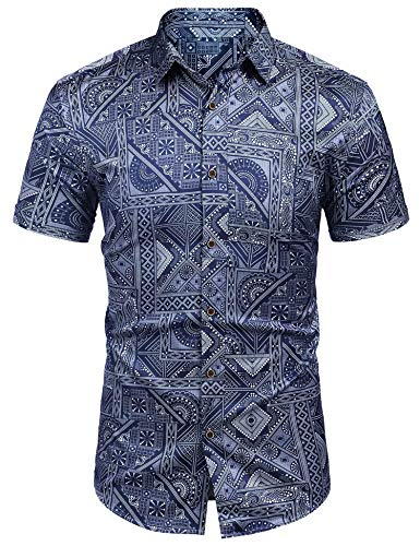 MAXMODA Herren Hawaii Hemd Männer Kurzarmhemd Blaues Regular Fit -