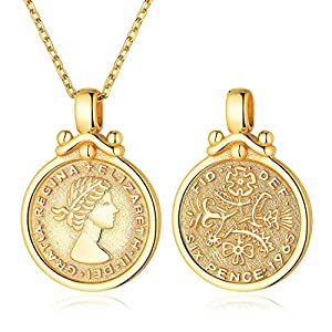 Queen Elizabeth Sixpence Necklace 18K Gold Plated Coin Disc Pendant with Chain Minimal Medallion Jewelry Bohemian