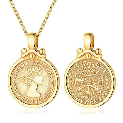 ChicSilver Queen Elizabeth Sixpence Halskette 18K Gold plattiert Münze Disc Anhänger mit Kette Minimal Medaillon Schmuck böhmischen (Gold Schmuck Medaillons)