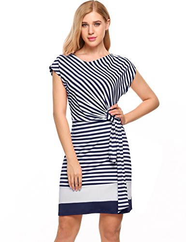 Meaneor Damen Strickkleid Gestreiftes Sommerkleid Jersey Casual Look in Figurbetonter Passform (L, Blau&Weiß)