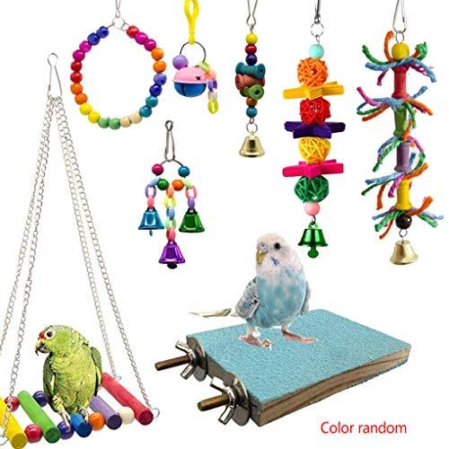 Babysbreath17 8PCS / Set zufällige Farbe hölzerne Korn-Vogel-Spielzeug Kit Papageienkäfig Schaukel Spielzeug Vögel Chewing Glocke Hängen