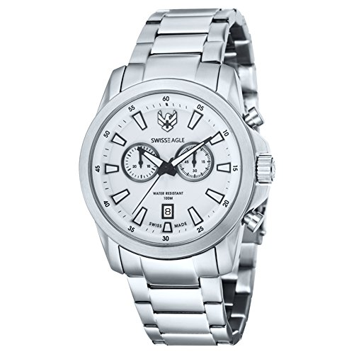 Swiss Eagle se-9055 – 22 – Silver Stainless Steel Bracelet Wrist Watch For Men