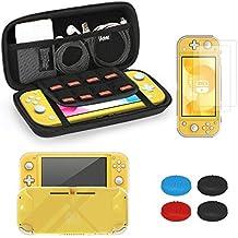 iAmer 5 en 1 Kit de Accesorios para Nintendo Switch Lite,Protección Funda para Nintendo Switch Lite 2019,TPU Carcasa,Vidrio Templado Protector de Pantalla para Switch Lite (2 Piezas), 4 Thumbsticks