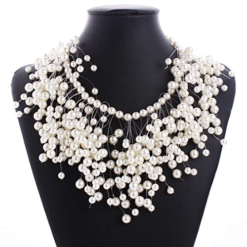 Kostüm Modelle Populare - HAOHAO Europa und Amerika Mode Pop Accouterment Persönlichkeit luxuriöse mehrschichtige Perle Quaste Halskette Bankett Hochzeit