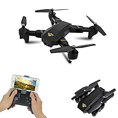 YMXLJJ Wifi FPV UAV Collapsible RC Quadcopter With Camera 30W/200W Wide-Angle Lens 2.4Ghz 6-Axis Gyroscope Can Set Flight Path Headless Function Black