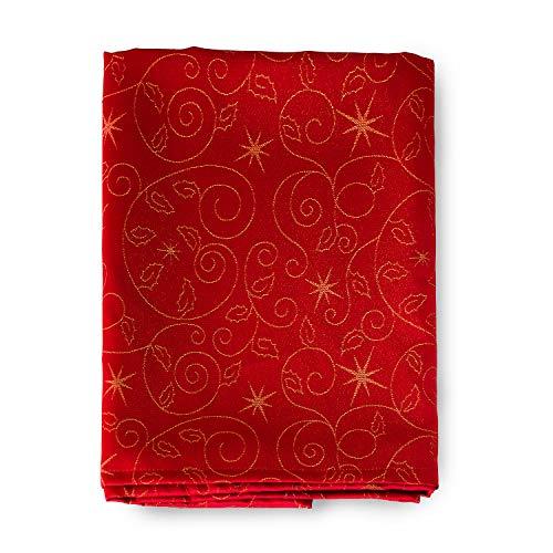 Tovaglia e tovaglioli con stelle di Natale di alta qualità –Trattamento anti macchia, colore rosso, Red, (6 NAPKINS 18 x 18' (45 x 45cm))