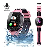 Jslai Kids Smartwatch étanche LBS/GPS Tracker, SmartWatch Android Compatible iOS pour 3-12 Filles SOS Call Camera Remote