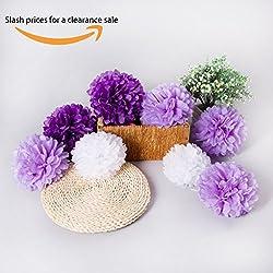 8 Pompones Flores de Papel de Seda colores morados