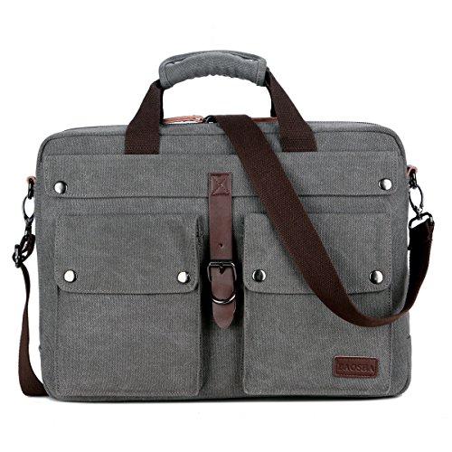 BAOSHA BC-07 Vintage Leinwand Herren Aktentasche Businesstaschen Laptoptasche groß passend für 14 ~ 17 Zoll Laptop Notebook Männer Segeltuch Arbeitstasche Umhängetasche Canvas Schultertaschen (Grau) (Grau Männer Leder)