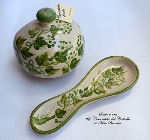 Set Nascondispugna Poggiacucchiaio Linea Edere Cucina Handmade Le Ceramiche del Castello Made in Italy Idea Regalo Natale