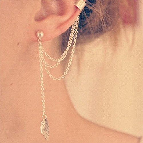girls-hot-punk-chain-link-tassels-metal-leaves-cartilage-ear-clip-stud-earringsgold