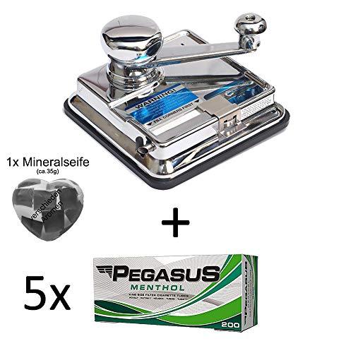 OCB® MikrOmatic Duo (Stopfmaschine) + 1.000 (5x200) Pegasus Menthol (Zigarettenhülsen) + 1x Seife Continental Duo