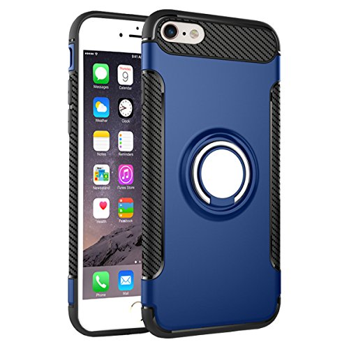 "iPhone 6S Plus Hülle, HICASER Abnehmbare Hybrid Dual Layer Defender Case [Shock Proof] Carbon Faser TPU +PC Handyhülle mit Klappständer für iPhone 6 Plus / 6S Plus 5.5"" Gold Blau"