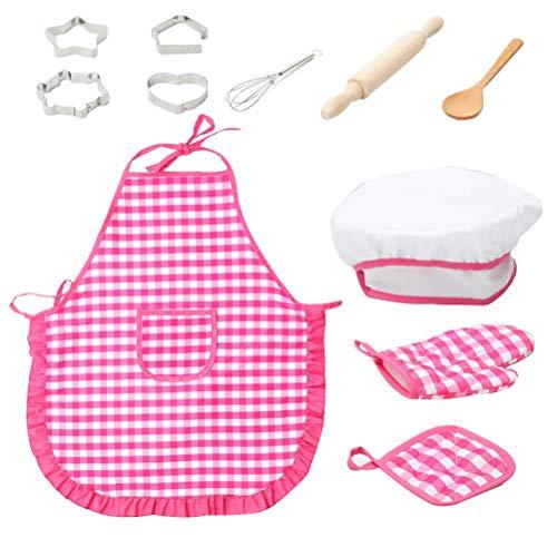 Toyvian Kinder Kochschürze Set mit Kochmütze Kochlöffel Schneebesen Nudelholz Ausstechformen und Topflappen für Küchenspielzeug Küche Rollenspiel Spielzeug Kostüm (Rosig)