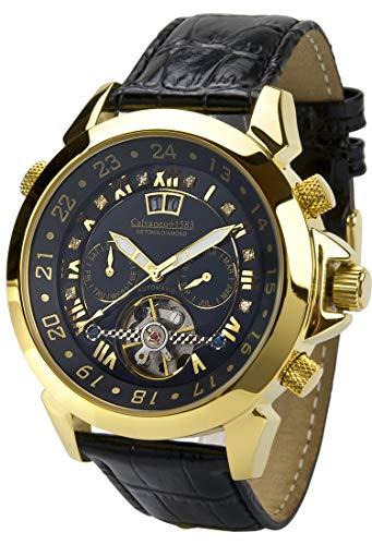 Calvaneo 1583 Astonia \'Black DIAMOND Gelbgold\' Luxury Automatikuhr