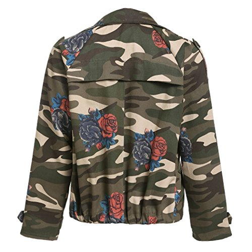 ZEARO Jacke Damen Herbst Winter Camouflage Military Jacken Mantel Wintermantel Armee-Grün