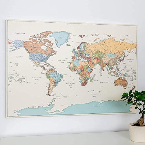 Bunte Weltkarte Bild - Pinnwand auf Leinwand mit Pins - Farbig Farbe - Kork Zum Markieren - Kunstdruck auf Echtholz Keilrahmen - 3 Größen zur Auswahl
