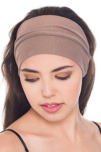 Deresina Headwear Baumwolle Stirnband für Dammen Frauen (Mink - 3 pcs)