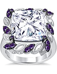 Silvernshine 6Ctw Cushion & Round Cut Amethyst CZ Diamonds 14K White Gold Plated Engagement Ring