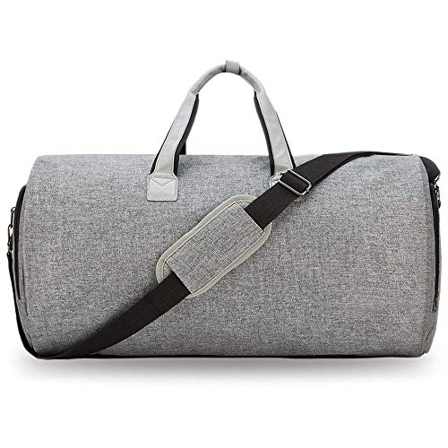 PUDDINGHH® 2 in 1 Convertible Suit Carry On Garment Bag - Faltbare Gepäck-Duffle-Tasche,Gray