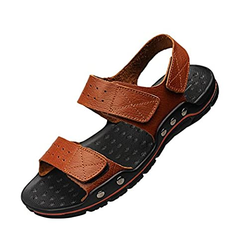 WALK-LEADER Mens Leather Outdoor Open Toe Velcro Strap Sandals for Summer Brown Size 11 UK