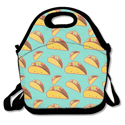 Smile Mexican Tacos Lunch Bag Tote Handbag Lunchbox Food Container Tote Cooler Warm Pouch For School Work Office