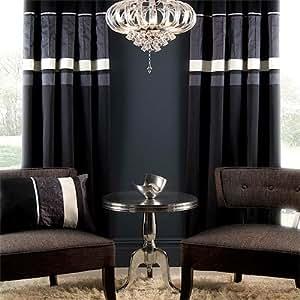 Catherine Lansfield Ellie Pencil Pleat Curtains, Black, 66 x 54 Inch