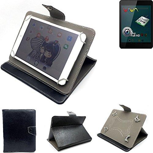 K-S-Trade Schutz Hülle Tablet Case für Allview Viva Q8, schwarz. Tablet Hülle mit Standfunktion Ultra Slim Bookstyle Tasche Kunstleder
