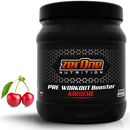 ZerOne Pre Workout Booster Fitness   Maximaler Pump Fokus   Leucin   Isoleucin   Valin 2:1:1   Energie Kraft Ausdauer   L-Citrulline Maca   Koffein Guarana   Taurin   Kirsche 500g