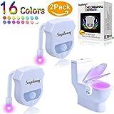 WC Nachtlicht Bewegung aktiviert - zwei Modi mit 16 Farbwechsel Led WC Sitzleuchte Motion Sensor WC Schüssel Licht von SUPLONG (Weiß-2 Pack) [Energieklasse A +++]