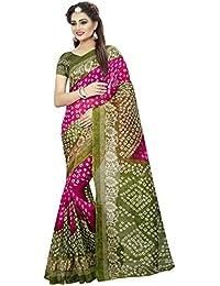 Kanchnar Women's Green And Pink Art Silk Bandhani Printed And Border Saree