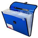 #10: TRANBO Plastic File Folder with 13 Pockets, Handle, Index Tab, A4 Size, Blue