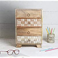 Vintage Style Rustic Wooden Mini Chest of Drawers Storage Box - Small Wooden Multipurpose 4 Drawer Keepsake Jewellery Organizer Box A for Him and Her Men Women Home and Office Decor